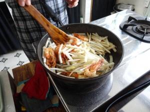 蓮の茎と海老の炒めもの2